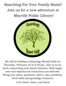 Genealogy Round Table @ Mayville Public LIbrary