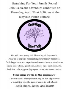 Genealogy Round Table @ Mayville Public Library