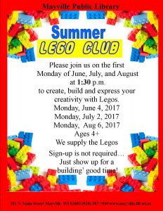 Summer Lego Club @ Mayville Public Library