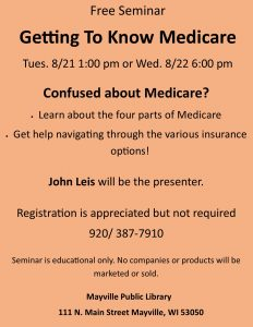 Medicare class @ Mayville Public Library