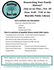 Genealogy Round Table Discussion @ Mayville Public Library