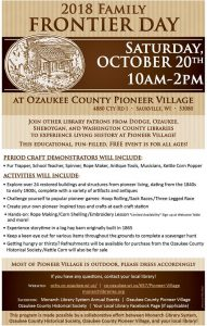 Family Frontier Day @ Ozaukee County Pioneer Village