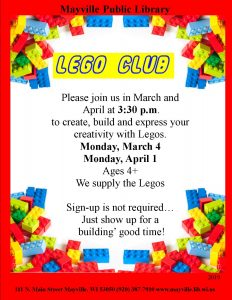 Lego club @ Mayville Public Library