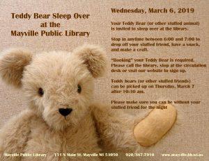 Teddy Bear Sleepover @ Mayville Public Library