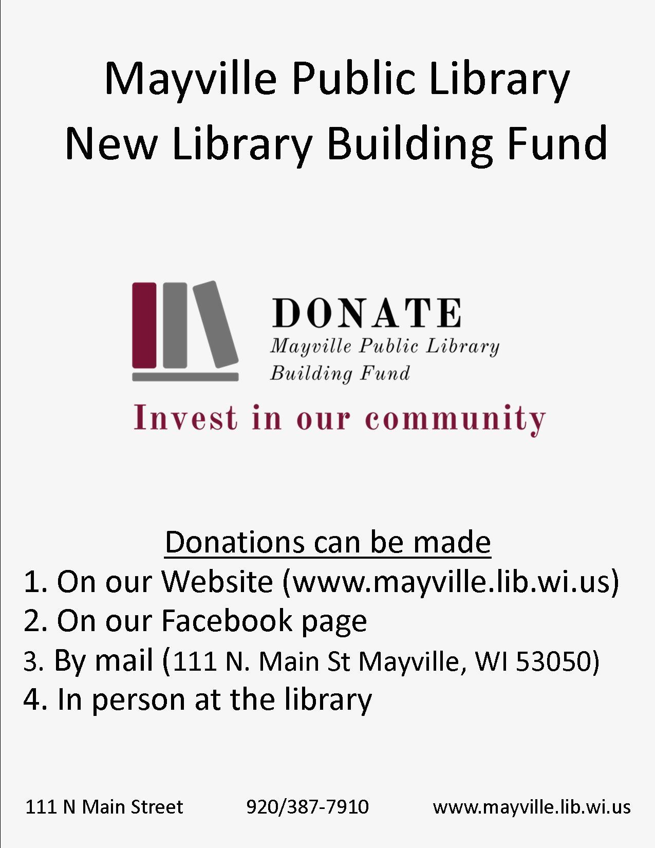 Mayville Public Library   111 N  Main St, Mayville, WI 53050 (920