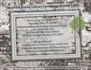 Genealogy Round Table Field Trip @ Hartford History Room, Jack Russell Memorial Library