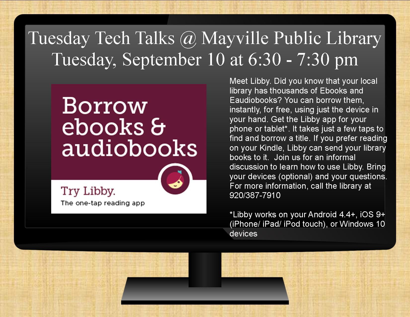 Tuesday Tech Talk - Meet Libby! @ Mayville Public Library